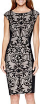 London Times London Style Collection Cap-Sleeve Lace Panel Sheath Dress