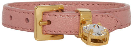 Miu Miu Pink Madras Leather Bracelet