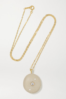 Cvc Stones Soften 18-karat Gold, Stone And Diamond Necklace