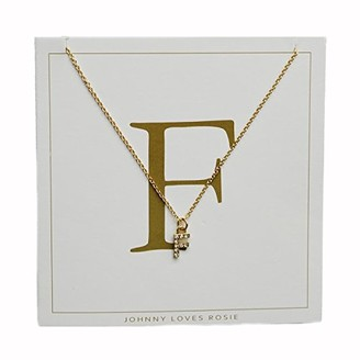 Johnny Loves Rosie Women Gold Plated Glass Chain Necklace of Length 48cm F Initial Gift Card