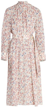 Chloé Belted Floral Silk Georgette Midi Dress