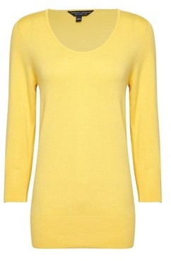 Dorothy Perkins Womens Lemon Scoop Neck Jumper