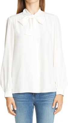 Lafayette 148 New York Cecile Tie Neck Silk Blouse