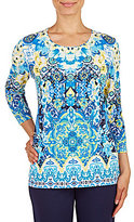 Allison Daley Crew Neck 3/4 Sleeve Scroll Print Embellished Knit Top