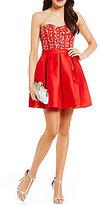Teeze Me Strapless Beaded-Corset Bodice Satin-Skirt Skater Dress