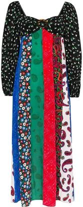 Rixo Ivy Contrast Print Midi Dress