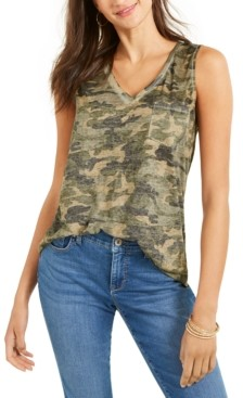 Style&Co. Style & Co Camo-Print Tank Top, Created for Macy's