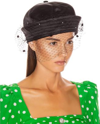 Marianna SENCHINA Sailor Hat with Veil in Black   FWRD