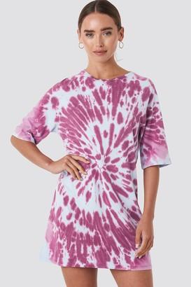 NA-KD Oversized Tie Dye T-shirt Dress Purple