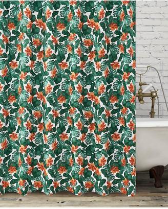 Aqualona Tropical Leaf Shower Curtain