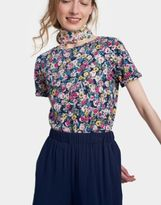 Joules Nessa Print Jersey T shirt in French Navy Multi Ditsy Size 6