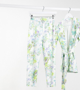 ASOS DESIGN Petite jersey slim suit pants in white floral