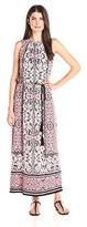 London Times Women's Sleeveless Printed Blouson Maxi Dress with Tassel Self Tie Belt