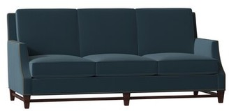 "Bradington-Young Madigan Genuine Leather 81"" Recessed Arm Sofa Body Fabric: Elegance Ocean, Leg Color: Mahogany, Nailhead Detail: French Natural, Cush"