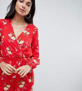 Parisian Tall Floral Long Sleeve Wrap Romper