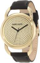 Anne Klein Women's AK-1008PVBK Black Calf Skin Quartz Watch with Dial