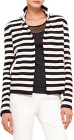 Akris Punto Striped Knit Stretch-Wool Jacket, Navy/Cream