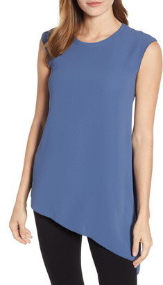 Anne Klein Fluid Asymmetrical Hem Sleeveless Crepe Blouse
