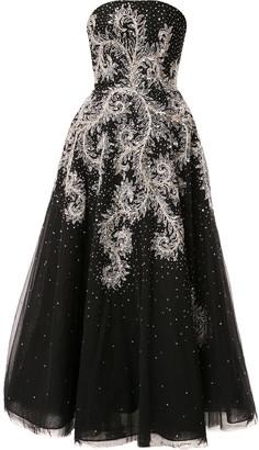 Saiid Kobeisy Strapless Flared Midi Dress
