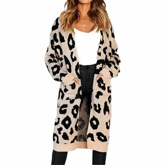 Esoes Women's Long Sleeves Leopard Print Knitting Cardigan Open Front Casual Warm Sweater Outwear Coats with Pockets (Khaki M)