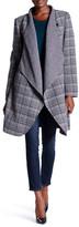 Ellen Tracy Plaid Wool Blend Cascade Front Jacket