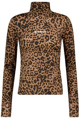 Vetements Leopard-print stretch-jersey top