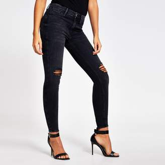 River Island Womens Black ripped Molly super skinny jeans