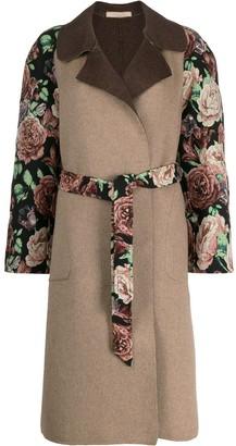 Ermanno Gallamini Floral Embroidery Midi Coat