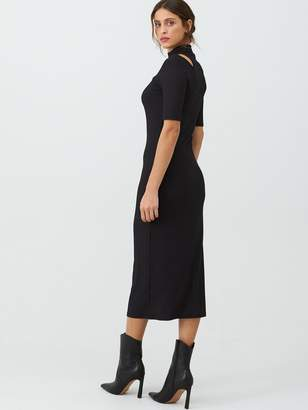 Very Cut Out Shoulder Ribbed Maxi Dress - Black