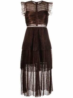 Self-Portrait Lace-Embroidered Tiered Dress