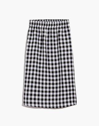 Madewell Smocked-Waist Midi Skirt in Gingham Check