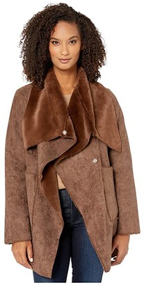 Lauren Ralph Lauren Faux Shearling Drape (Soft Brown) Women's Clothing