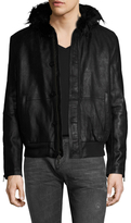 John Varvatos Sheepskin Leather and Faux Shearling Hooded Bomber Jacket