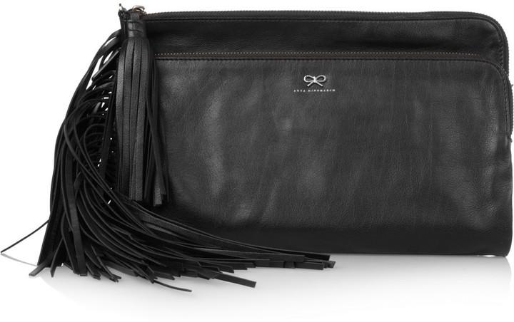 Anya Hindmarch Newman tasseled leather clutch