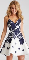 Jovani Cascading Floral Print Rhinestone Open Back Homecoming Dress
