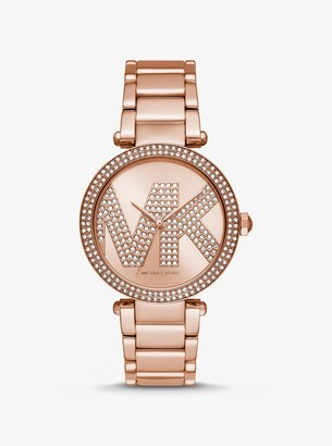 Michael Kors Oversized Parker Pave Logo Rose Gold-Tone Watch