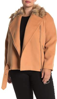 ELOQUII Faux Fur Collar Moto Jacket (Plus Size)