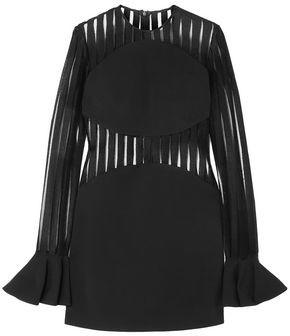 David Koma Striped Flocked Mesh And Cady Mini Dress