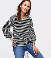 LOFT Striped Velvet Puff Sleeve Sweatshirt