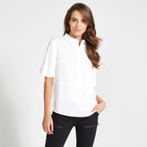 Apricot White Clean Line Concealed Buttons Shirt