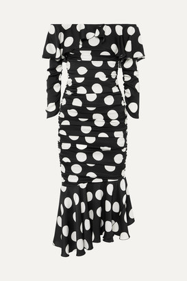 Dolce & Gabbana Ruched Polka-dot Stretch-silk Satin Midi Dress - Black