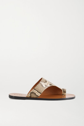 ATP ATELIER Rosa Cutout Snake-effect Leather Sandals - Snake print