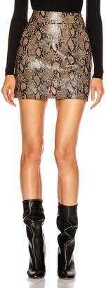 Frame Embossed Leather Skirt in Brown Multi | FWRD