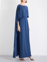St. John Embellished-trim satin-crepe gown