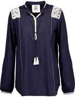 Figue Martine Tasseled Crochet Knit-Paneled Cotton Top