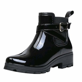 Overdose Women's Clothing Women's Wellington Gloss Rain Boot - Ankle Height Wellies for Women Buckle Rain Shoes Waterproof Booties Chelsea Boots Black