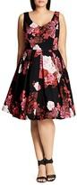 City Chic Autumn Days Floral Print Dress