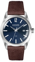 Kahuna Blue Dial Watch With Brown Leather Strap