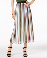 NY Collection Striped Chiffon Midi Skirt
