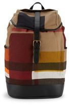 Burberry Plaid Leather-Accented Backpack